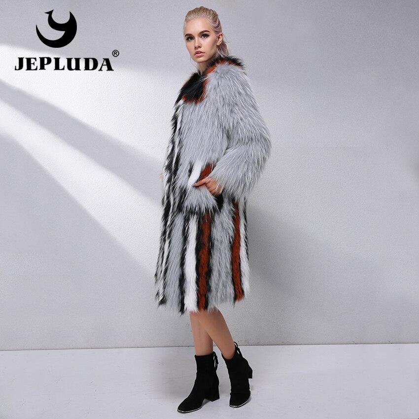 309955fb590aef Luxe Femme Naturel Jepluda D hiver De Parkas Automne Renard Manteau  Véritable Multi Lumière Outwear Veste ...