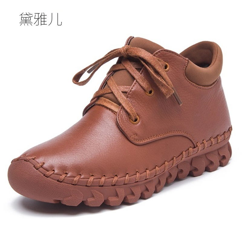 Handmade Sewing Fashion Lace-up 2018 Heel Flat Ankle Boots for Women Genuine Leather Ladies Shoes Woman Girl Spring Autumn ladies casual lace up flat ankle boots fashion round toe plain cow leather boots for women female genuine leather autumn boots