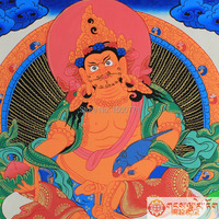 Pure Hand Painted Thangka Nepal Yellow The God Of Wealth Buddha That Hang A Picture Not