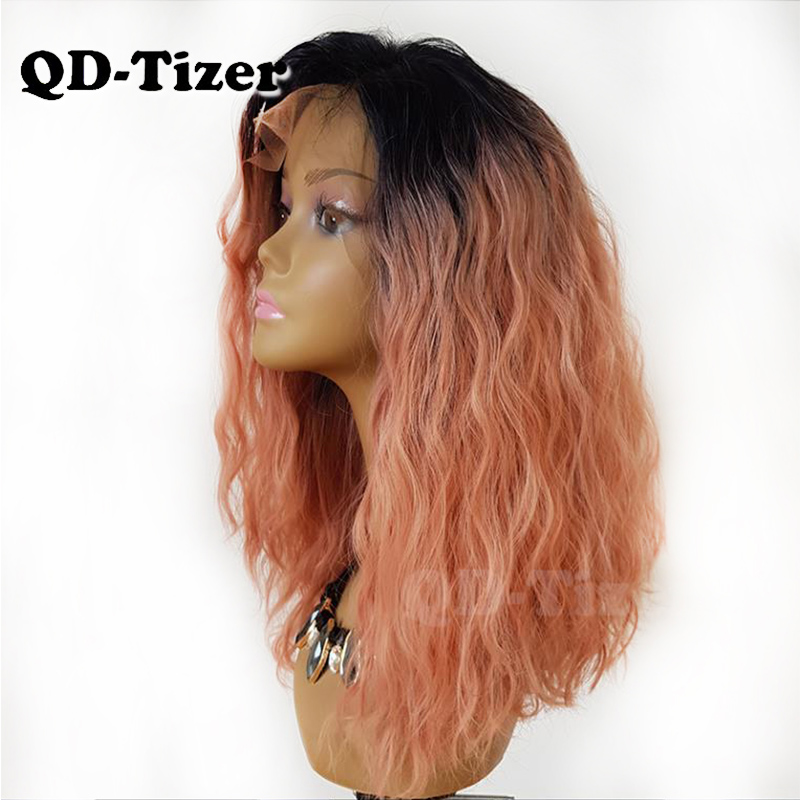 QD Tizer Ombre Pink Hair Synthetic Lace Front Wigs Loose Curly Lace Front Wig Short Pink