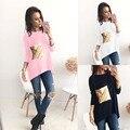 2017 Новых прибыл Европа девушку рубашка повседневная с длинным рукавом с площади золотой блестками женщины печати футболка свободные геометрические принты
