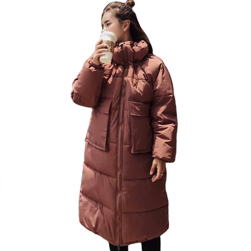 2019 New Arrival Women Winter Jacket Korean Style Oversized Loose Female Coat With Pockets Womens Long   Parka