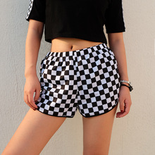 Sexy High Waist Plaid loose Shorts Women's Elastic Waist Fashion Short Feminino Checkerboard Shorts Streetwear Summer Shorts цены