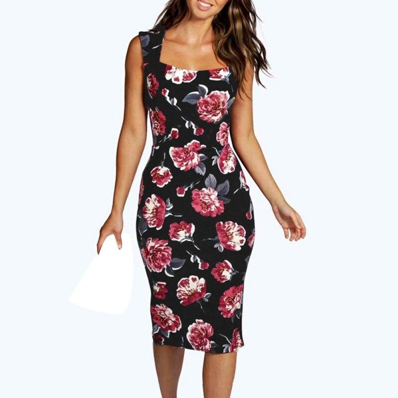 d2fceb9aaf Vintage mujeres sin mangas vestido floral verano vestido bodycon vestidos de  Partido de la flor Vestidos