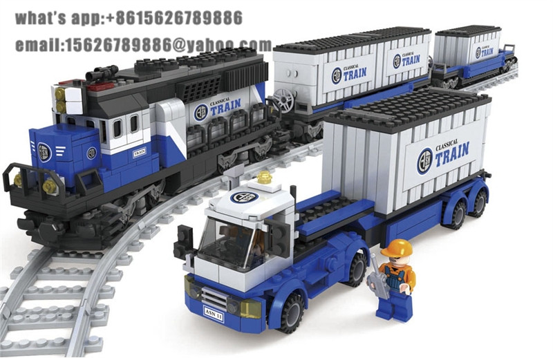 Ausini building block set compatible with lego transportation train 017 3D Construction Brick Educational Hobbies Toys for Kids newest track train brick building block set educational diy construction toys for children enlighten bricks compatible with lego