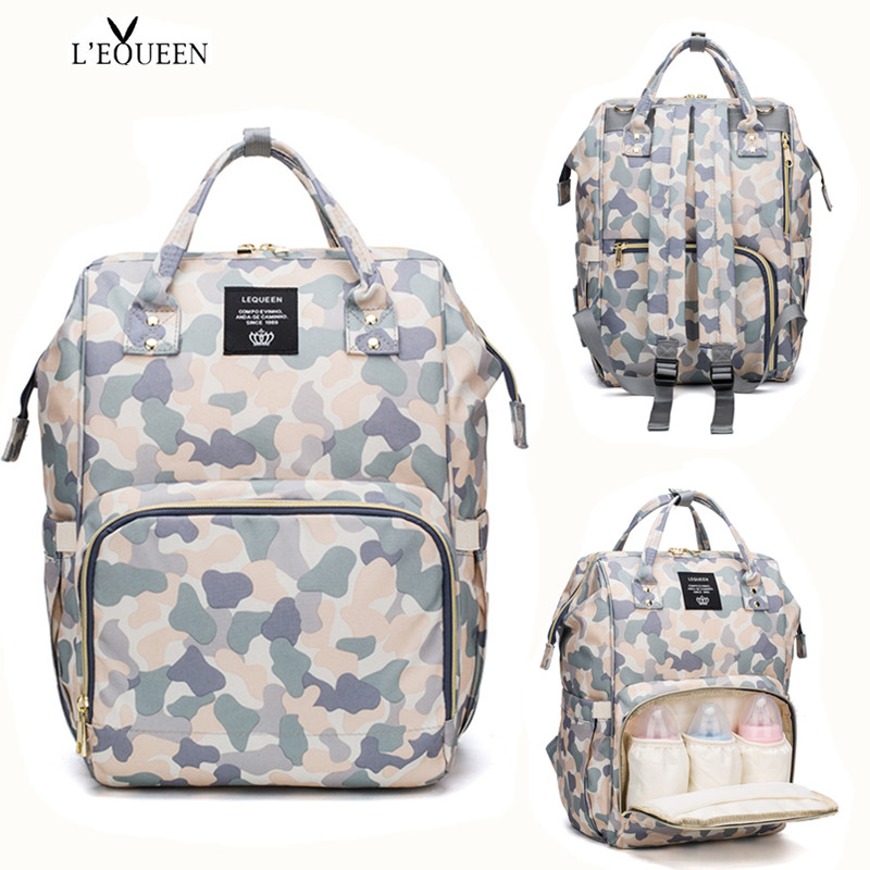 2019 LEQUEEN Diaper Bag Camouflage Summer Waterproof Nappy Bag Baby Care Travel Backpack Maternity Bag