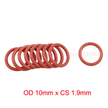 OD 10mm x CS 1.9mm red o-ring silicone o ring seal sealing gasket цены