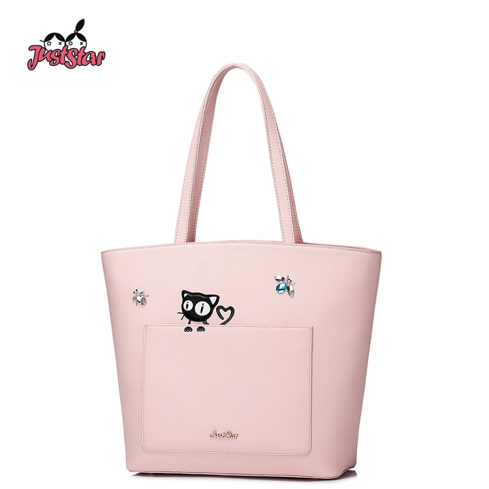 ФОТО Just Star Women PU Leather Shoulder Bags Female Cute Cat Handbags Ladies Brief Pink Leisure Tote Bags Brand High Quality JZ4287