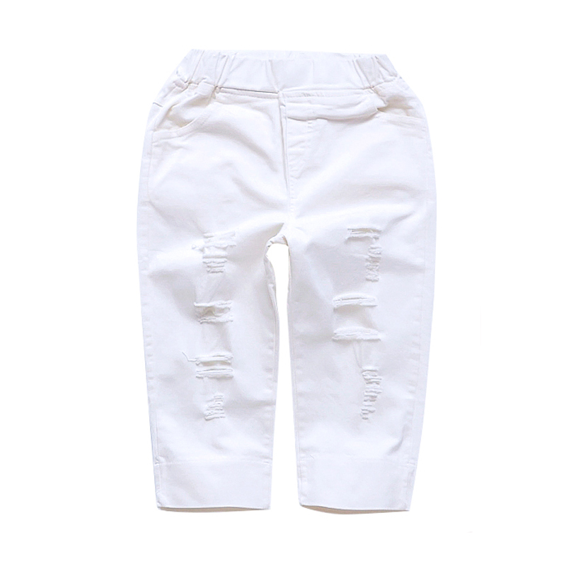 Children Calf-length Pants For Girls Clothing Solid Ripped Summer Trousers Kids Bottoms 4 6 8 10 11 12 Years Leisure Sportswear