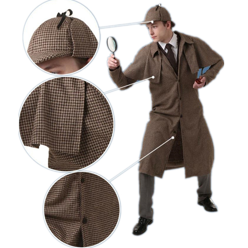 Kid children Sherlock Holmes Cosplay Costumes Fancy Dress Trench Cap Pipe Magnifier