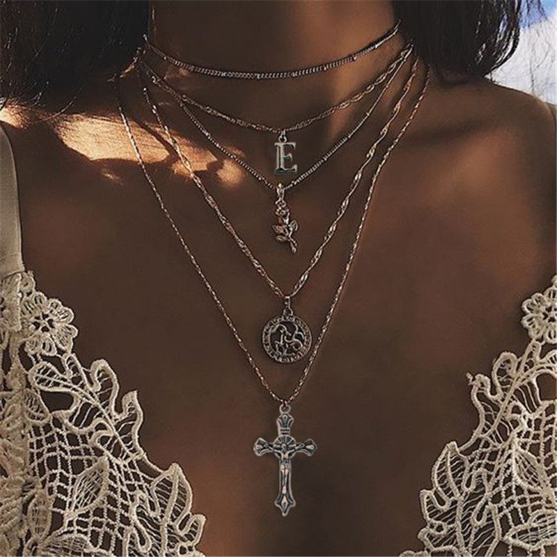 New retro necklace with multi layer cross pattern pendant letters flowers round female models charming necklace jewelry party in Chain Necklaces from Jewelry Accessories