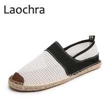 LAOCHRA New Arrival Summer Men Espadrilles Breathable Fishmen Flats Взуття Комфорт Холстина Ведмедиця