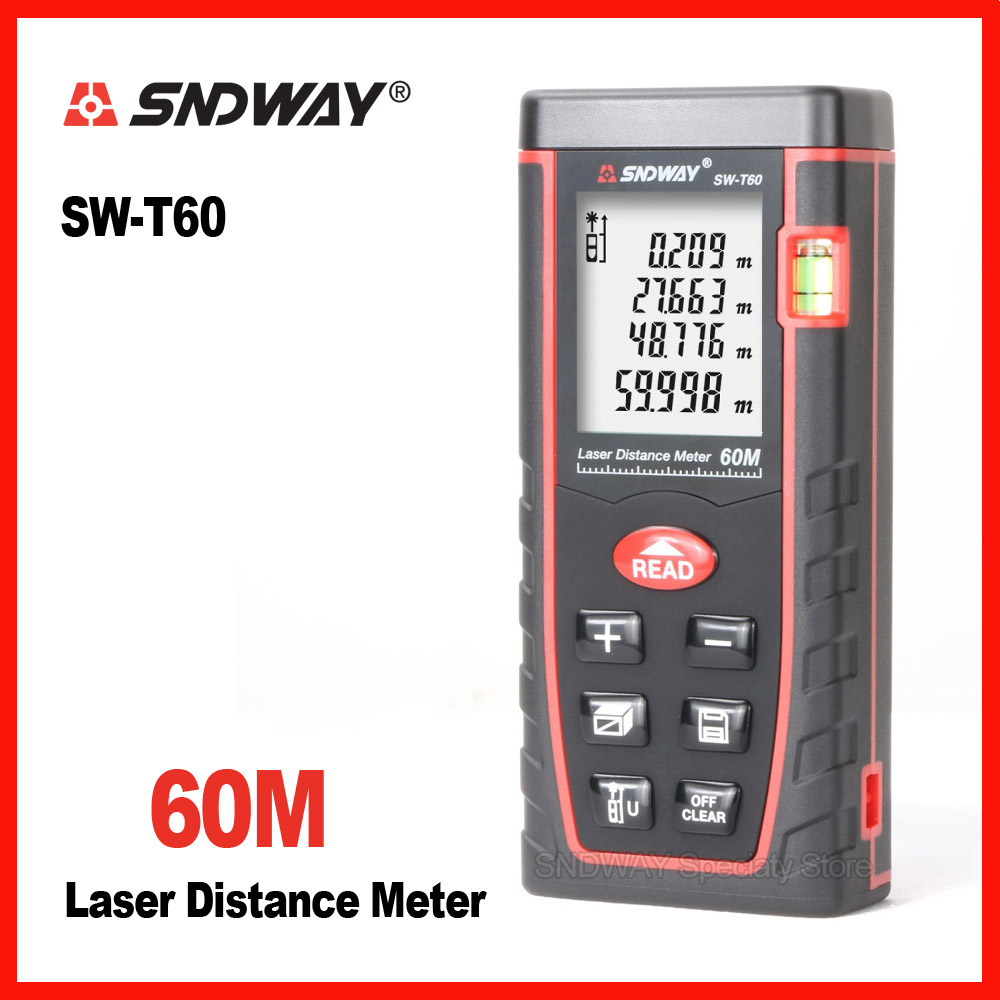 Genuine Sndway 60m Handheld laser range finder distance tape measure roulette meter trena rangefinder Electronic ruler tool mini handheld digital laser distance meter 60m rangefinder trena laser tape range finder build measure device ruler test tool