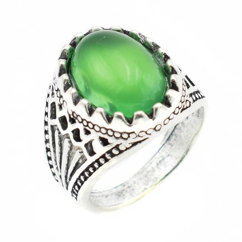 الأزياء الأخضر حجر خواتم للنساء الفضة مطلي القوطية سبائك فتاة بيان العتيقة زوجين خواتم مجوهرات للنساء