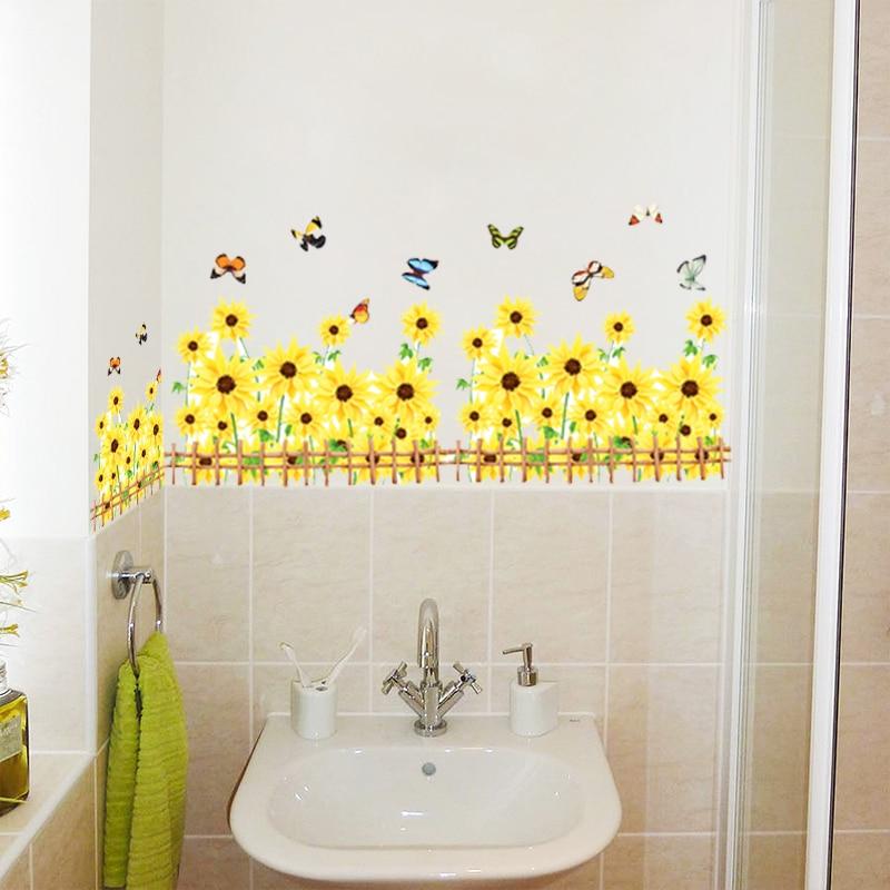 Gelbe Blume Schmetterling Wandaufkleber 3d Garten Schlafzimmer Wohnzimmer  TV Hintergrund Sofa Badezimmer Dekoration Wandkunst Aufkleber(