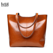 BRIGGS Brand Ladies Split Leather Handbags Vintage Casual Tote Shopping Bags Famous Designer High Quality Shoulder Bag For Women new arrival stylish women split leather bag handbags famous brand fashion boston lady leather tote bags for female ladies