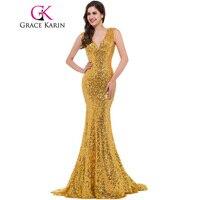 Grace Karin Luksusowe Długa Suknia Olśniewająca Syrenka Wieczorowej sukni głębokie V Czerwony Złoty Formalne Bal Suknie Robe De Wieczór Longue