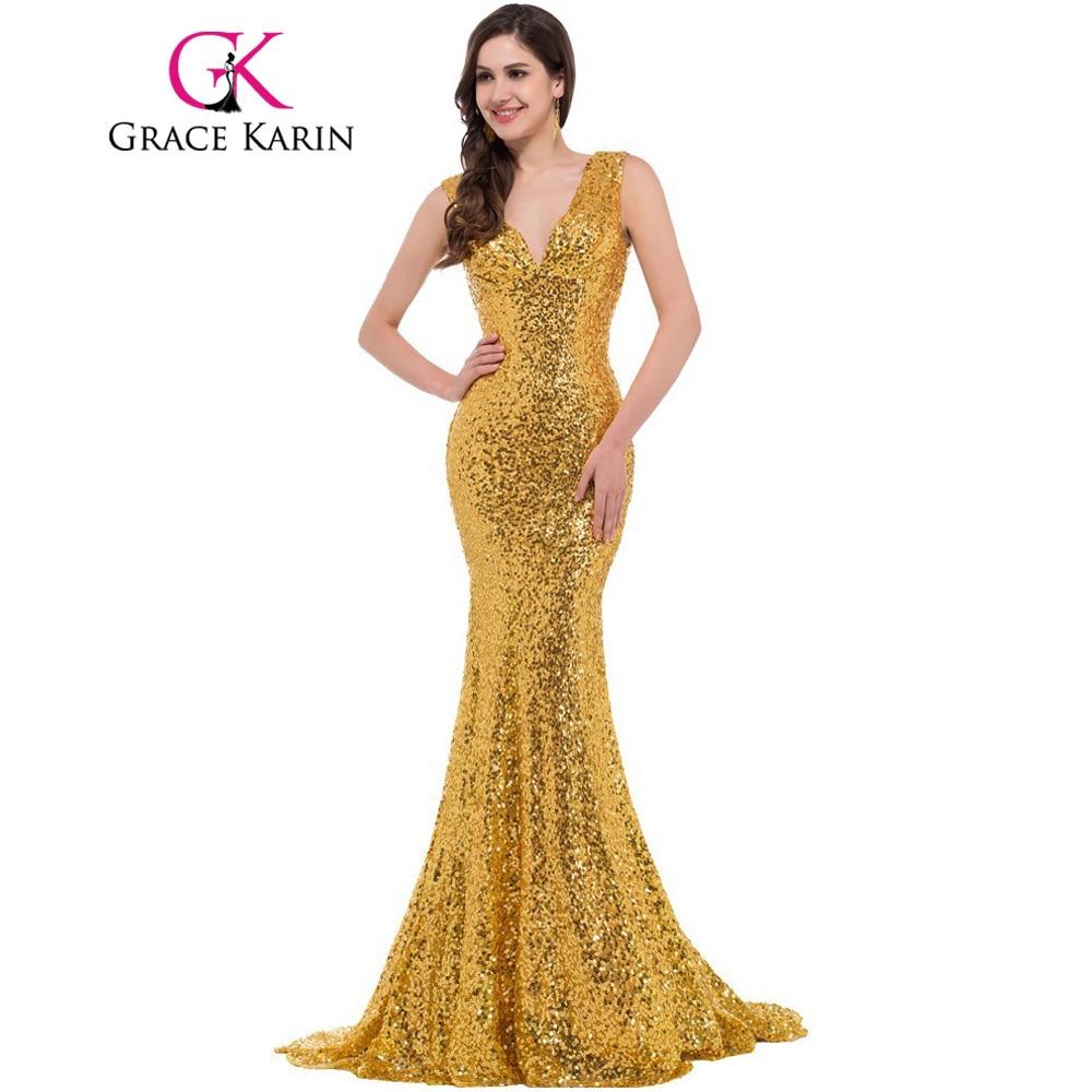 Grace Karin Luxury Long Evening Dress Sequin Mermaid Evening Gown ...