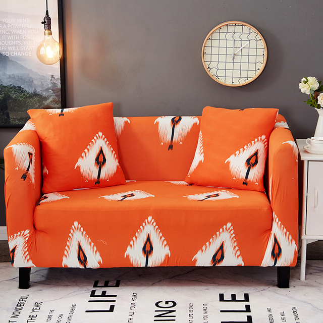 Aliexpress.com : Buy Orange Bohemian Feather Universal Stretch Sofa Covers  Elastic Couch/Corner Slipcovers Tight Wrap Single Loveseat Covers For Sofa  ...