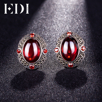 EDI 925 Sterling Silver Simulated Garnet Gemstone Clip Earrings for Women Jewelry Classic Red and Black Vintage Halo Earrings
