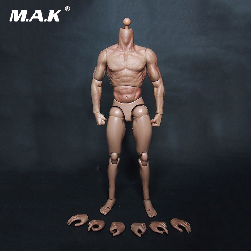 12 Inches Scale Muscular Mens Body Fit for 1/6 Scale Male Head Sculpts 12 inches mens muscle rubber body black skin figures bodies for 1 6 scale male head sculpts brinquedos toys collections