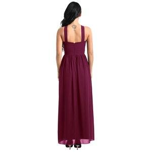 Image 4 - Tiaobug femmes dames croisé bretelles en mousseline de soie élégante robes de demoiselle dhonneur princesse bal fête Maxi longue robe de mariée