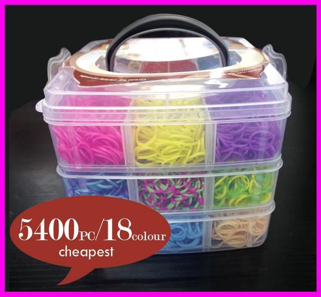 5400 unids Diversión Loom Band Kit Kids DIY Pulsera de Goma De Alta Calidad CAJA de 3 capas de PVC Familia Loom Kit Bandas Telar de silicona Conjunto recargas