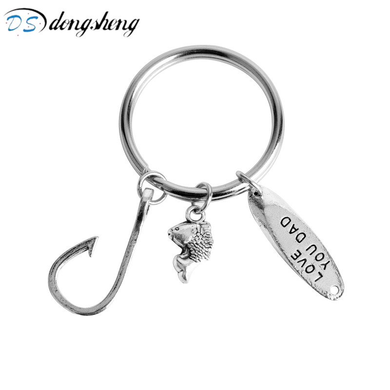 dongsheng Work Tools Fish Hook Fishing keychain Stamped LOVE YOU DAD Fishing Fish Hook Jewelry Keyrings for Fathers Day Gift