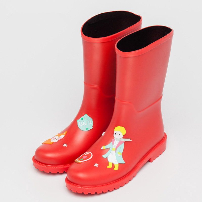 Women's Rain Boots Mid Calf With Cartoon Applique-Waterproof PVC Boots-Anti-Slip With Heels Bodies For Girls