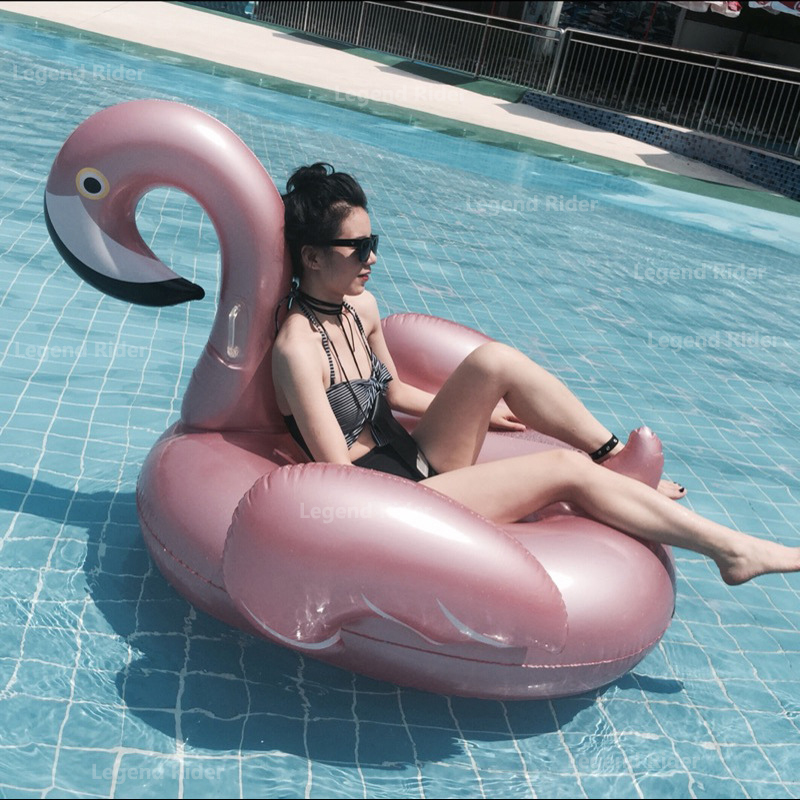 150cm 59inch Water Sports Giant Rose Glod Inflatable Flamingo Pool Float White Swan Beach Lie on Inflatable Mattress Fun Toys