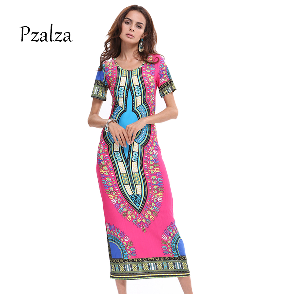 Women Red Print Dashiki Dress O-Neck Bohemian Vintage Indian Ethnic Clothing Hippie Dress For Summer