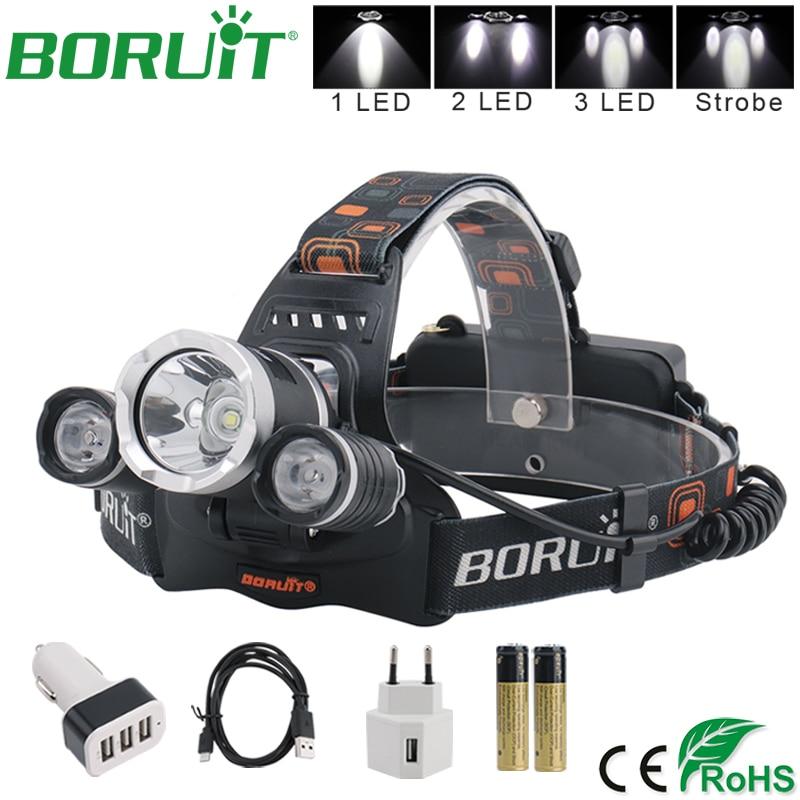 BORUiT XML L2 LED priekšējā luktura lukturīša uzlādējama luktura pārnēsājamā kempings Medību makšķerēšana Head Torch Light 18650 baterija