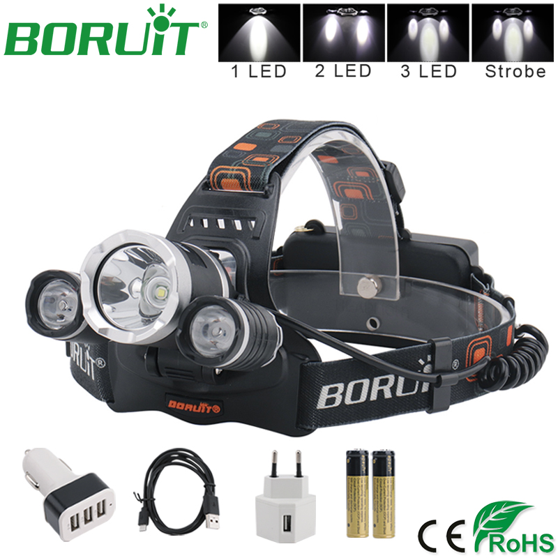 BORUiT XML L2 פנס קדמי פנס LED פנס קדמי נייד קמפינג דיג דיג ראש לפיד אור על ידי 18650 סוללה