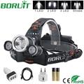 BORUiT XML L2 LED Headlamp Flashlight Rechargeable Headlight Portable Camping Hunting Fishing Head Torch Light by 18650 Battery