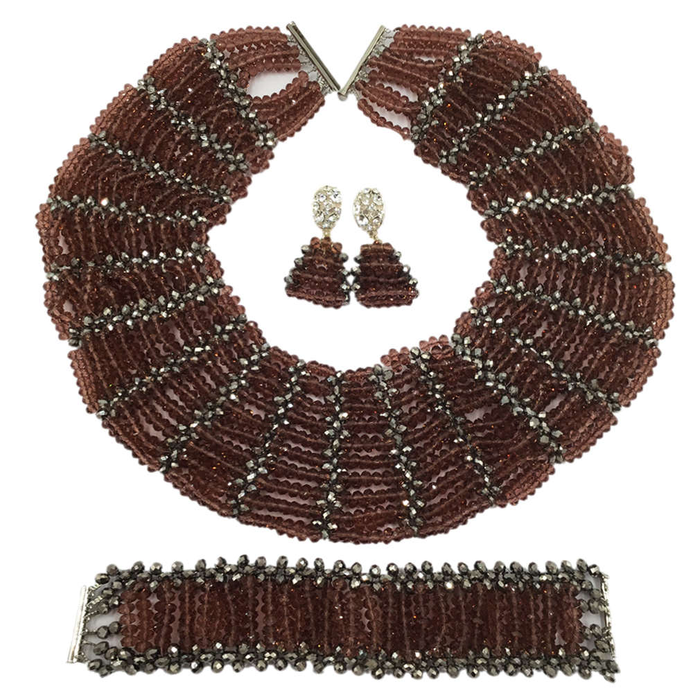 цена Dark Purple Silver Crystal Beaded Necklace Nigerian Wedding African Beads Jewelry Set for Women Bridal Party Beads Sets SXK003