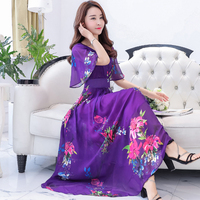 The New 2017 Summer New Silk Dress Posed A Shawl Sleeves V Neck Cultivate One S