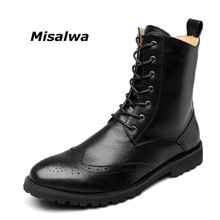 Misalwa Newly Brogue Men Boots 2019 Spring Autumn Classic Leather Military Boots Ankle Boots Male Vintage Oxford Decent Shoes
