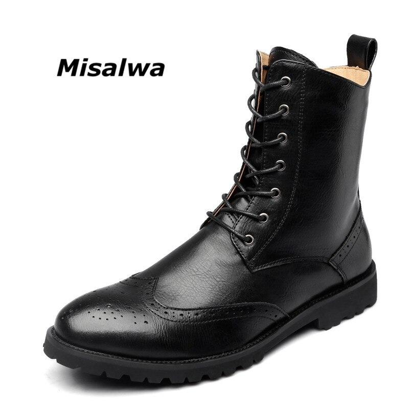 Misalwa nouvellement Brogue hommes bottes 2019 printemps automne classique en cuir militaire bottes cheville bottes mâle Vintage Oxford chaussures décentes