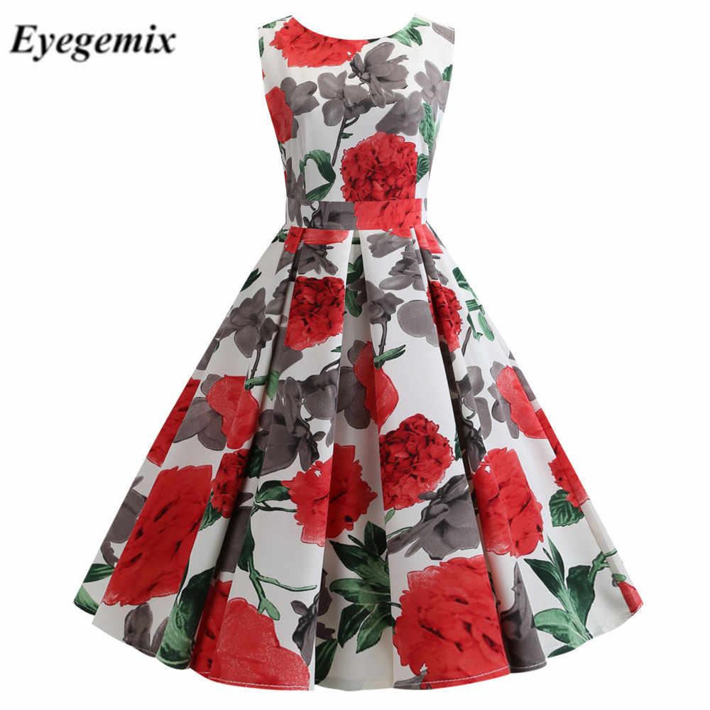 Plus Size Summer Dress Women Vintage Rockabilly Dresses Jurken Floral 50s 60s Retro Big Swing Pinup Party Dress Gift Vestidos