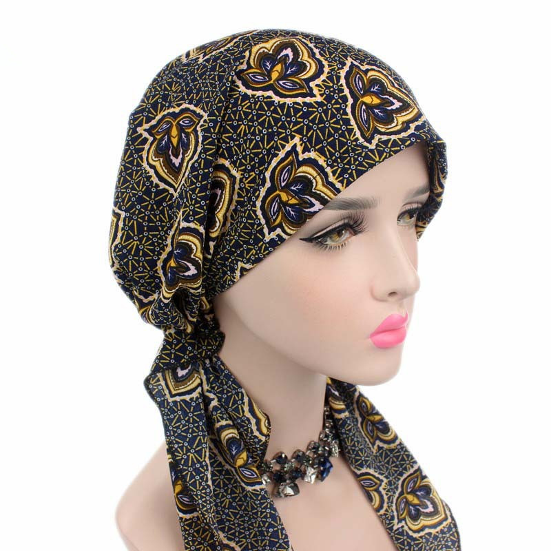 Helisopus Hot Style Women Cotton Turban Hat Chemo Turban Hat Pre-Tied Bandana Headscarf Ladies   Headwear   for Cancer