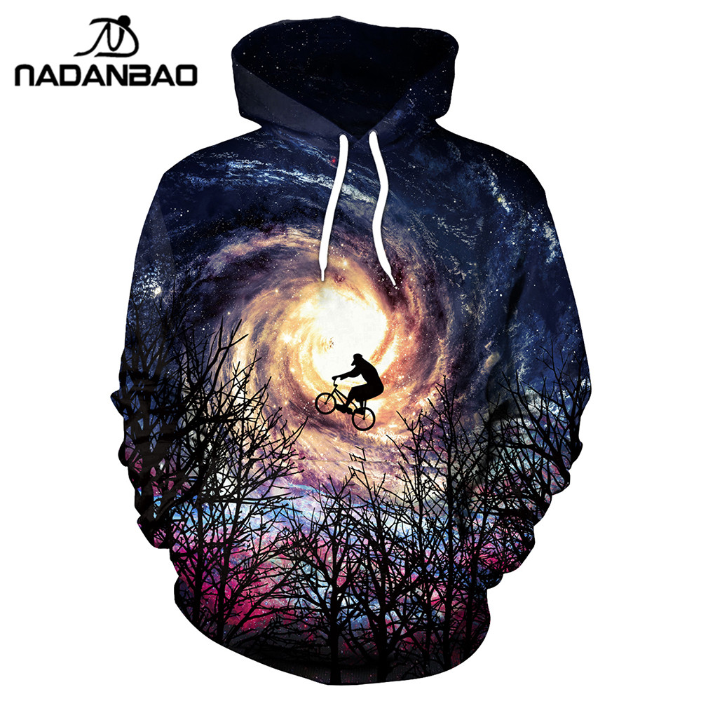NADANBAO New Design Hiphop Hoodies Galaxy Space 3D Printed Bicycle Flight Cool Fashion Forest Whirlpool Women Hooded Sweatshirt