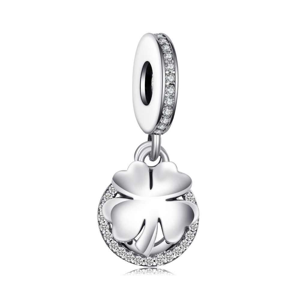 Jewelrypalace Foglia di Trifoglio 925 Sterling Silver Beads Pendenti E Ciondoli Argento 925 Originale per Il Braccialetto in Argento 925 Originale Monili Che Fanno