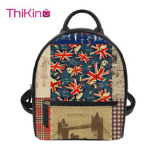 Thikin 2019 New 3D Printing British Style Backpack for Women Girls PU Mini Cute Leather Schoolbag Student Preppy Bag