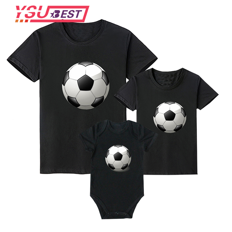 Summer Family Matching Clothes Mother Daughter Son Football Print Family Look Father Baby T Shirt Romper Cartoon Kids Outfits 2018 summer family matching outfits mickey short sleeved t shirt family mother and daughter clothes father son baby kids 14color