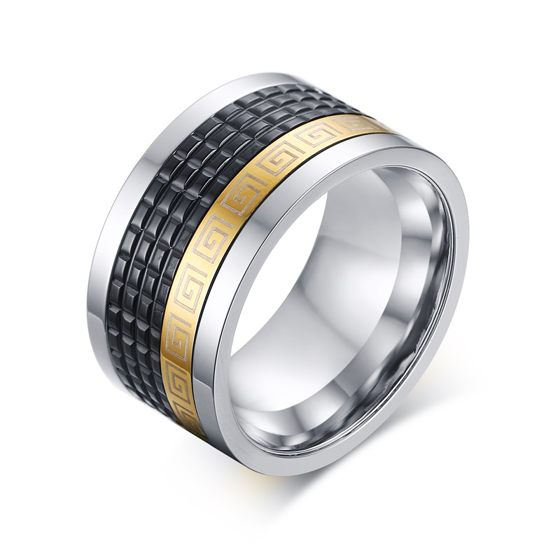 Meaeguet Retro style men ring with greek key pattern black+Gold-Color 12mm wide male accessories