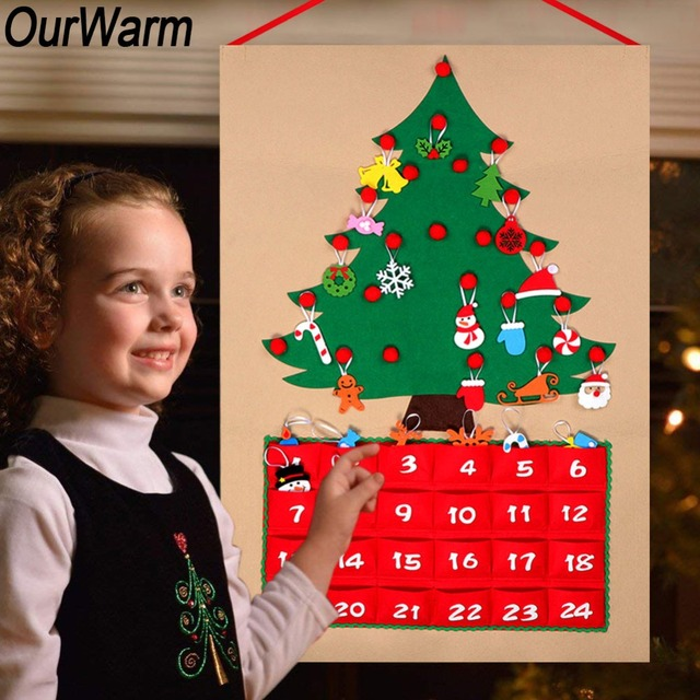 Us 11 29 20 Off Ourwarm Diy Fabric Christmas Felt Advent Calendar With Pocket Tree Ornament Wall Hanging Christmas Decoration For Home New Year In