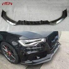 Передний спойлер из углеродного волокна для Audi A6 RS6 A7 RS7 2012-, защита для подбородка, защита для автомобиля