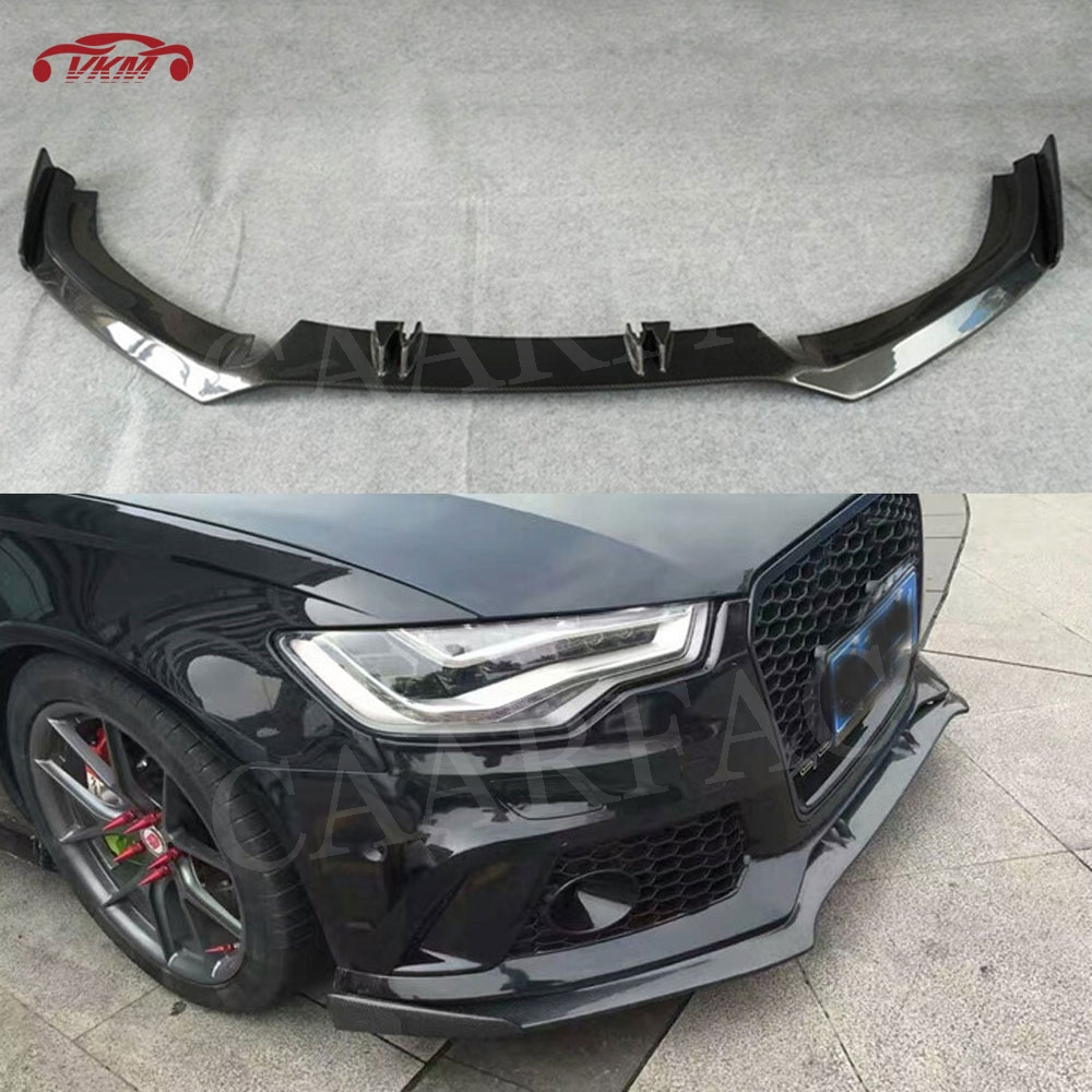 Carbon Fiber Front Lip Spoiler Splitter For Audi A6 RS6 A7 RS7 2012-2018 Head Bumper Chin Shovel Protector FRP Car Styling