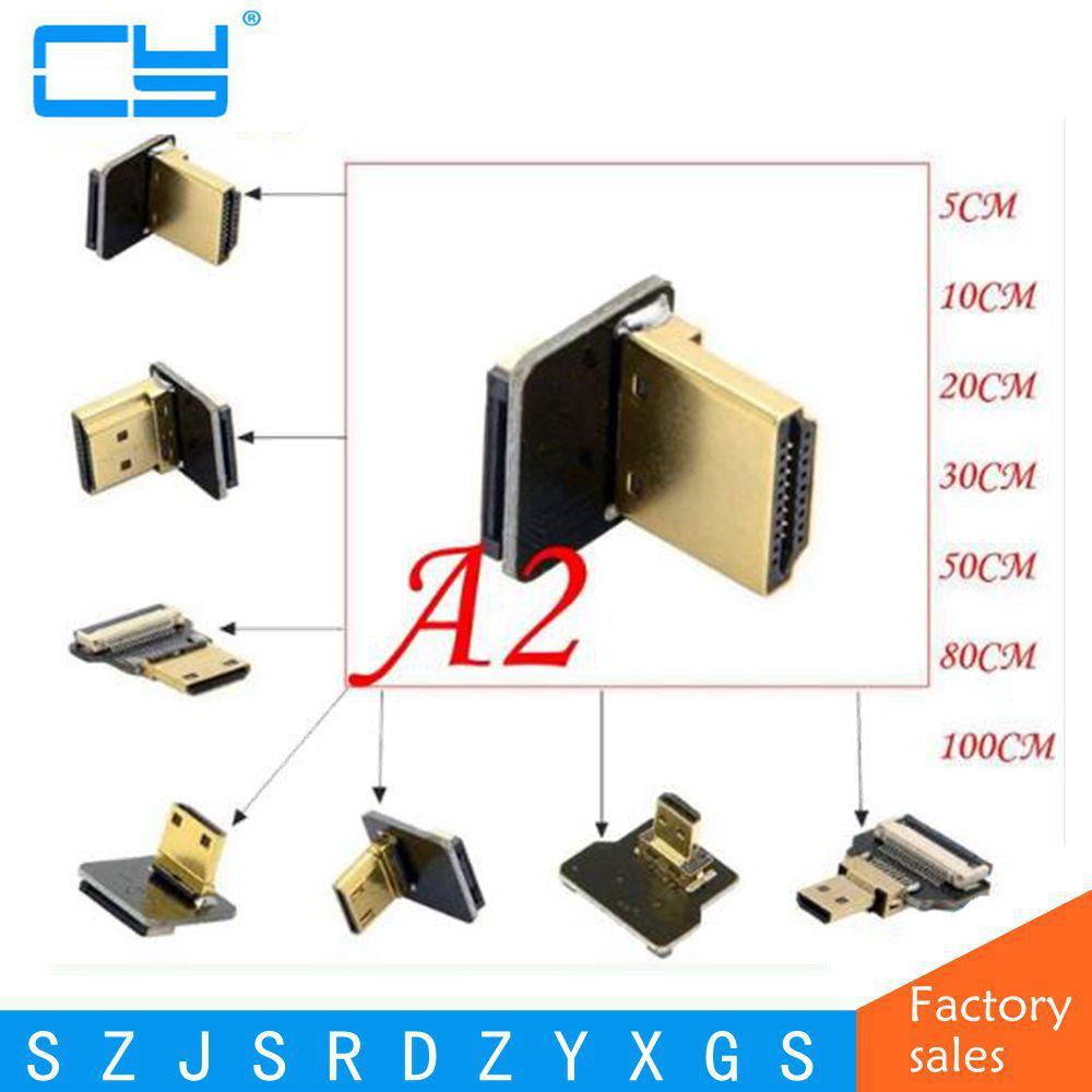A2 FPV Micro HDMI Mini HDMI degree Adapter 5cm-100cm FPC Ribbon Flat HDMI Cable Pitch 20pin for Multicopter Aerial Photography