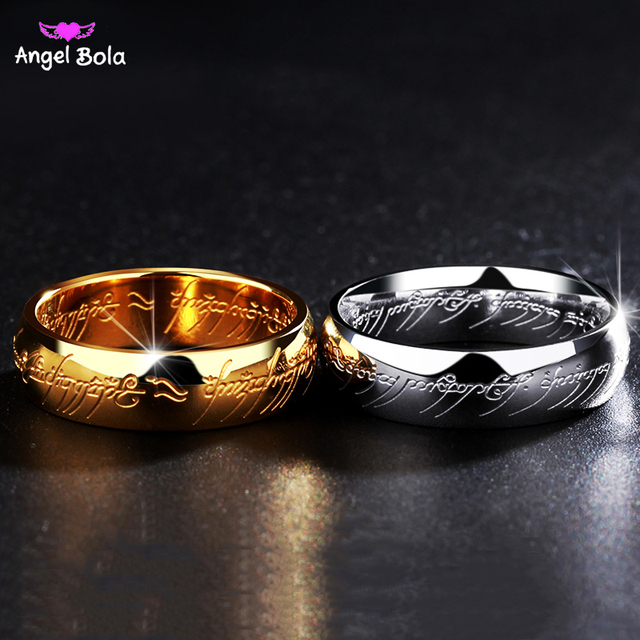 lord of the ring titanium steel wedding engraved rings engagement cocktail parents gift couple bands hobbit - Lord Of The Rings Wedding Rings